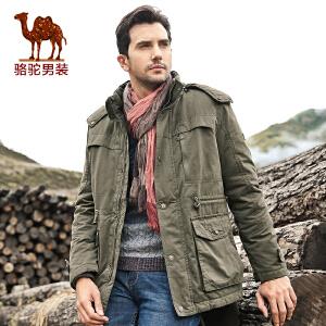 骆驼男装 男士棉衣 休闲直筒棉服 男士中长款外套