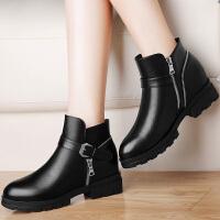 古奇天伦 纯色圆头女靴子 侧拉链内增高女短靴 防水台女鞋子 8509
