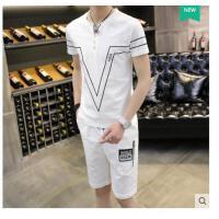 男士运动休闲套 装韩版短袖T恤男装 上衣棉麻时尚两件套潮