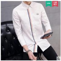新款薄款韩版修身条纹寸衫个性男装衣服港风长袖衬衫男潮