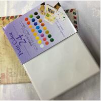 荷兰泰伦斯固体水彩 24色透明固体水彩套装 樱花水彩绘画颜料 内含樱花自来水笔一支 海绵两条调色盘