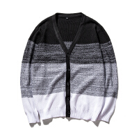 秋季男装韩版V领男士针织开衫韩版修身撞色毛线衣休闲外套男潮
