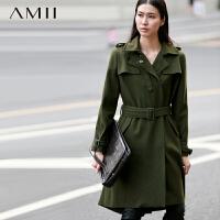 【AMII超级大牌日】[极简主义]2016冬军装风外套双排扣腰带散边长款羊毛呢大衣11490426