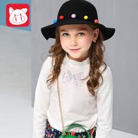小猪班纳童装女童T恤长袖2017秋装新款女孩中大童打底衫