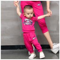 新款户外休闲韩版男童装潮宝宝休闲T恤运动两件套女童套装
