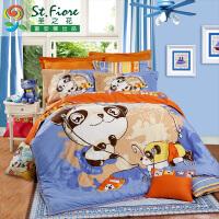 富安娜家纺 圣之花床上用品卡通全棉儿童四件套 快乐伙伴