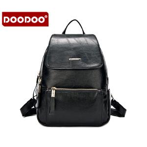DOODOO 2017新款包包女包双肩包日韩简约多隔层休闲大容量女士背包书包 D6071 【支持礼品卡】