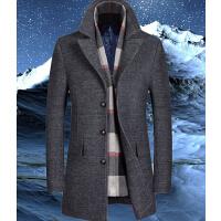 外套男 可拆卸围巾领男装风衣 新款男士羊毛大衣 修身呢子