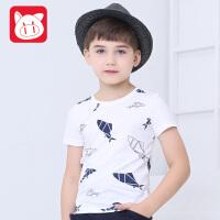 小猪班纳男童短袖t恤中大童上衣童装2017夏装新款儿童短袖t恤男