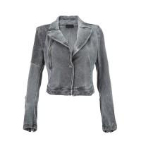 DIESEL迪赛灰色混合材质简约帅气女士外套