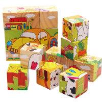 杜曼闪卡 9粒立体拼图6面画木制大颗粒积木儿童益智玩具动物交通拼图 多种图案拼法组合 开发宝宝思维
