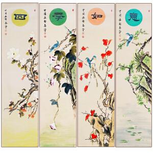 【真迹R5153】工笔国画四条屏《四季如意》作者张一娜-中国女工笔画协会委员,书画家协会一级美术师