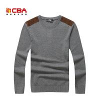 CBA男子运动毛衫男士春秋冬季薄款圆领套头纯棉毛衣运动外套线衫