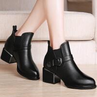 古奇天伦皮鞋女靴 秋冬新款金属搭扣牛皮靴女短靴 粗跟女鞋8537
