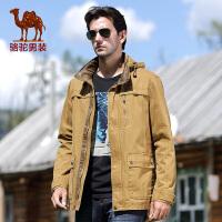 骆驼男装 款男士休闲纯色夹克 男士中长款夹克 潮