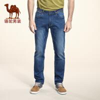 骆驼男装 夏季新款微弹中腰拉链修身小脚长裤 时尚牛仔裤男
