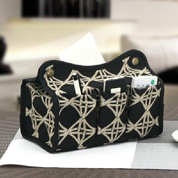 爱优活 布艺纸巾盒创意 抽纸盒小号 欧式家用汽车纸巾盒_海底金格