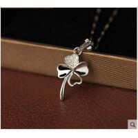 时尚锁骨闺蜜银饰品银四叶草项链女生日礼物送女友