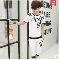韩版潮流男v领套服青少年个性七分裤男士短袖t恤休闲运动套装