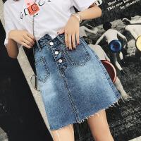 白领公社 半身裙 牛仔裙夏季新款高腰刺绣不规则裤裙修身牛仔短裙子学生毛边短裤子