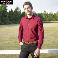 BOKOLO 伯克龙 男士经典净色休闲职业短袖衬衫 男式格子素色修身短袖 BC14002