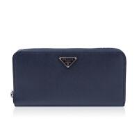 Prada/普拉达藏青色牛皮材质金属logo装饰女士长款钱夹