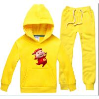 中性儿童套装 猪猪侠秋冬款童装 抓绒加厚帽衫裤子 套头卫衣外套
