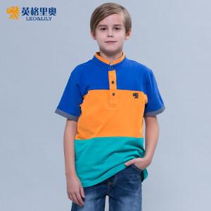男童短袖poloT恤上衣立领中大童2017夏装童装儿童宽条纹纯棉半袖