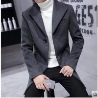 韩版新款时尚风衣男中长款修身纯色呢子大衣潮男休闲毛呢外套