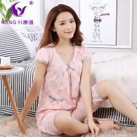 香港康谊睡衣女夏季居家服纯棉短袖五分裤套装女人全棉家居服