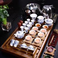 尚帝 陶瓷茶具套装 咖色杯架茶盘-(青花瓷)茶具电磁炉套装XMBH2014-012A1
