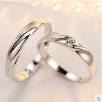 情侣戒指 首饰 配饰 时尚简约男一对日韩版925银指环对戒刻字饰品生日礼物