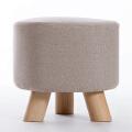家逸 三腿实木小凳子沙发脚凳 儿童小矮凳 布艺换鞋凳 穿鞋软坐凳 三腿户外休闲凳