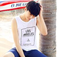 夏季男士休闲运动背心 时尚青少年男装上衣潮男韩版修身无袖汗衫