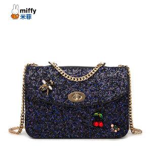 Miffy 米菲2016新款斜挎包 韩版时尚亮片单肩包链条女士包包潮