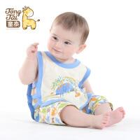 童泰夏装婴儿纯棉衣服0-1岁男女宝宝夏季琵琶衣无袖背心清爽套装