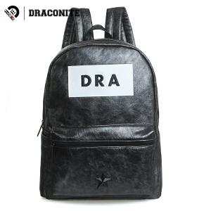 DRACONITE欧美时尚潮流pu亮面双肩包男女休闲学生书包背包黑11664
