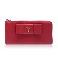 Prada/普拉达红色牛皮材质蝴蝶结装饰女士长款钱夹
