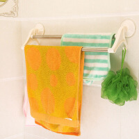 普润 吸盘双杆毛巾架 多功能浴室毛巾架 卫生间不锈钢置物架