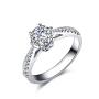 佐卡伊 真爱桂冠 白18k金六爪钻戒求婚结婚戒指钻石女戒珠宝首饰