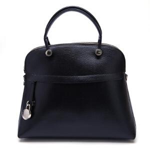 FURLA芙拉黑色牛皮材质纯色女士手提单肩贝壳包