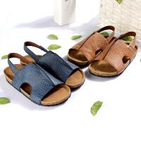 梓缇儿童凉鞋男童 大童真皮 防滑橡胶*木 时尚沙滩鞋