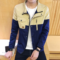 男士新款休闲夹克韩版修身时尚撞色外套潮男运动上衣