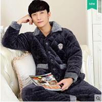家居服套装三层加厚珊瑚绒夹棉睡衣男士长袖法兰绒棉袄保暖家居服套装