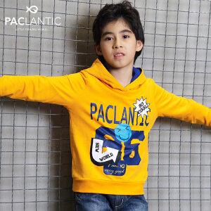 派克兰帝Paclantic童装2017秋款上衣 男女童针织连帽套头卫衣
