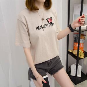 新款夏季2017短袖T恤女宽松字母印花圆领百搭学生上衣服NR603-1302
