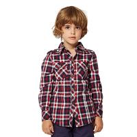 派克兰帝 儿童时尚格子衬衫 男童女童秋装上衣