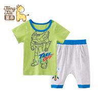 童泰 迪士尼宝宝夏装儿童套装婴儿男童短袖T恤可开裆短裤两件套