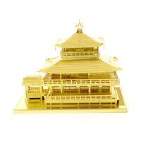 爱拼 全金属 DIY拼装模型 3D免胶纳米立体拼图 金阁寺 黄铜版