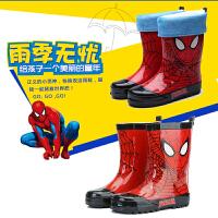 儿童雨靴大童男童蜘蛛侠防滑防水橡胶鞋保暖水鞋加绒雨鞋水靴